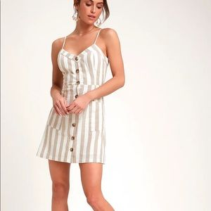 Lulu's On the Pier Striped Button Front Mini Dress